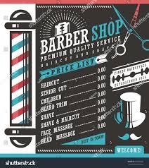 Hair Salon Price List Template Free Barber Shop Vector Price List Template Stock Vector 377204692