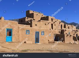 pueblo adobe houses taos pueblo new mexico features adobe stock photo 333580751