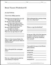brain teasers worksheet 4 free to print grades 3 and up k