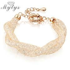 crystal mesh bracelet images Mytys double wire mesh tube crystal bracelets for women rose gold jpg