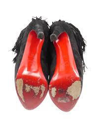 christian louboutin black suede fringe highness tina sz 36 6 boots