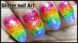 beautiful glitter nail gel art designs with colourful glitter gel