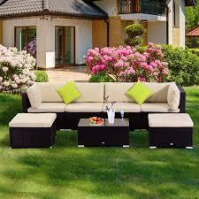 Patio Furniture Wicker Outsunny 7pc Rattan Set Outdoor Furniture Wicker Cushioned