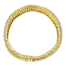 yellow gold bracelet with diamond images Vintage gold bracelet snake skin in 18kt yellow gold once upon a jpg