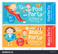 Invitation Card For Pool Party Beach Pool Party Birthday Invitations Beach Stock Vector 652590025