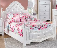 princess style white wooden full bed frame with satin upholstered
