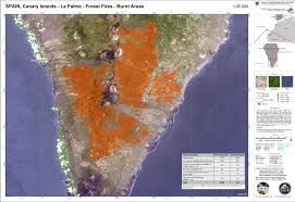 Canary Islands Map Burnt Areas In The South Of La Palma Canary Islands On August 8