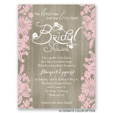 bridal invitations flowers and woodgrain bridal shower invitation
