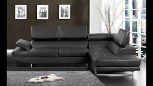 Modern Leather Sofa With Chaise by Kemi Modern Style Black Bonded Leather Sectional Sofa With
