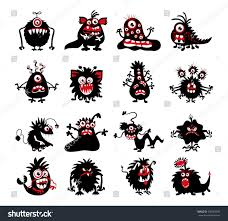 monsters halloween halloween black monster silhouettes bacteria beast stock vector