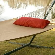 furniture cream fabric hammock with orabge cushion having grey