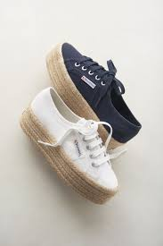 superga raffia wrapped platform sneaker in white and navy