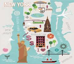 Map Of Manhattan New York City by Cartoon Map Of New York City Royalty Free Cliparts Vectors And