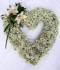 baby breath flowers beautiful open funeral heart with baby breath and white flowers
