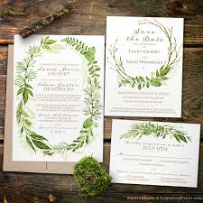 wedding invitation set botanical greenery wedding invitation sets