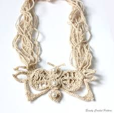 crochet jewelry necklace images Crochet pattern butterfly necklace crochet stand necklace pattern