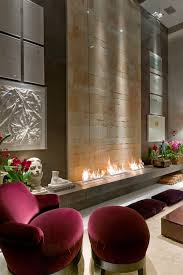 Contemporary Gas Fireplaces by Gorgeous See Trough Contemporary Fireplace Design With Soapstone