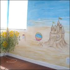 beach mural for a girls room sandcastle and flowers ocean sky beach mural for a girls room sandcastle and flowers ocean sky with clouds