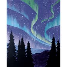 how to paint northern lights sip and paint canvas night northern lights bella ceramica studio