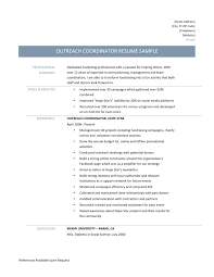 marketing professional resume samples outreach coordinator resume samples tips and template outreach coordinator resume page 001