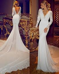 lace mermaid wedding dress lace mermaid wedding dress open back with sleeves naf dresses