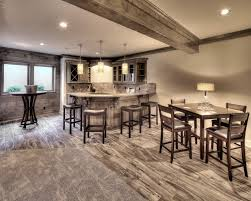 basement finish basement bar wood look tile shiplap wall wood