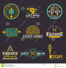 quest room and escape game logo set stock vector image 95071072