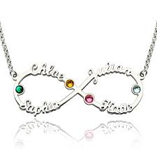 mothers day birthstone jewelry day infinity four name necklace gifts with birthstones