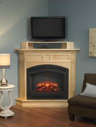luxury light tile decorated corner electric fireplace with tv