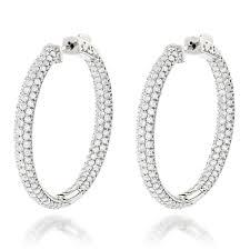 inside out diamond hoop earrings large 14k gold inside out diamond hoop earrings 4 6ct