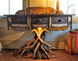 Antler Table L Www Lpostrustics Rustic Bowfront Table With Yellow Birch Root