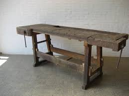 industrial belgian oak workbench with two vices 1950s for sale at