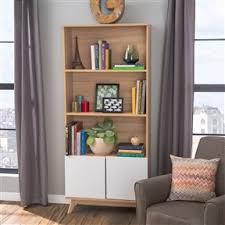 eco friendly 3 shelf bookcase with bottom cabinet in white and