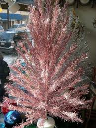 rare antique pale pink flocked tinsel 4ft christmas tree shabby