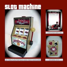 faux slot machine for gift cards or centerpieces and matching sign