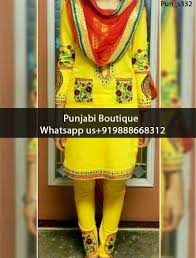 lovely yellow pocket style embroidered punjabi suit product code