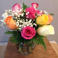 roses delivery rainbow roses bowl in troy mo troy flower shop