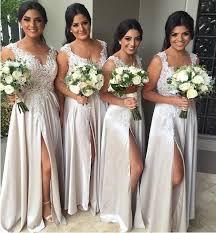 light gray bridesmaid dresses long bridesmaid dresses slit bridesmaid dress lace bridesmaid
