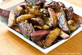 Oven Roasted Root Vegetables Balsamic - recipe balsamic roasted fingerling potatoes cooking on the side