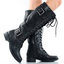 womens motorbike boots black lace up buckle tall combat military women flat knee high