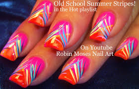 nail art tutorial diy easy neon summer nails stripe nail