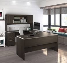 dark chocolate modern u shaped office desk with brushed nickel