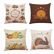 happy thanksgiving pillow covers 18 x 18 inch cotton linen
