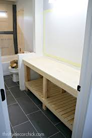 How To Make A Bathroom Vanity by How To Build A Diy Open Bathroom Vanity From Thrifty Decor