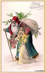 vintage christmas card santa claus with an angel lost and found