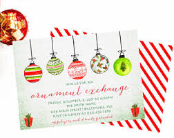 Christmas Ornament Party Invitations - ornament exchange etsy