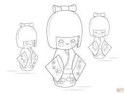 kokeshi dolls coloring page free printable coloring pages