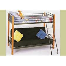 amazon com metal and wood twin futon bunk bed kitchen u0026 dining
