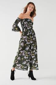 the shoulder jumpsuit uo floral the shoulder jumpsuit outfitters