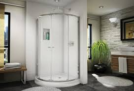 steel frame glass doors interior simple and neat bathroom decoration using curved glass
